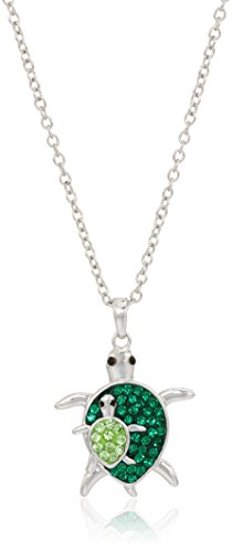 - Silver-Plated You & Me Crystal Turtles Pendant Necklace, 18