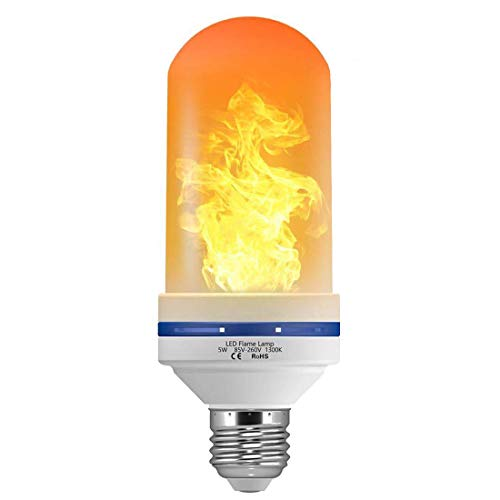 - LED Flame Effect Light Bulb 5W 1300K Flame LED Bulbs with Upside Down Effect 3 Modes Flame Light Bulb E26 Based for Halloween Home/Hotel/Bar Party Decoration by LUXON