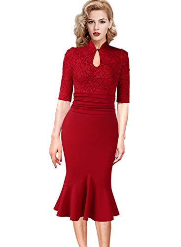 Sheath Wiggle - VFSHOW Womens Celebrity Keyhole Ruched Cocktail Party Mermaid Midi Dress 1862 RED XS