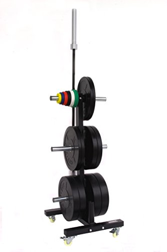 CFF Olympic 2 Bar & Bumper Plate Tree for Weights – Mobile Weight Storage rack w/wheels. Perfect for any commercial gym or fitness training center