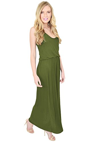 Khaki Maxi Bouffante Summer Elastic Swimmer Simple Dress la donna Amberclothing Toga e Festival Indietro Holidays per wxZqII4