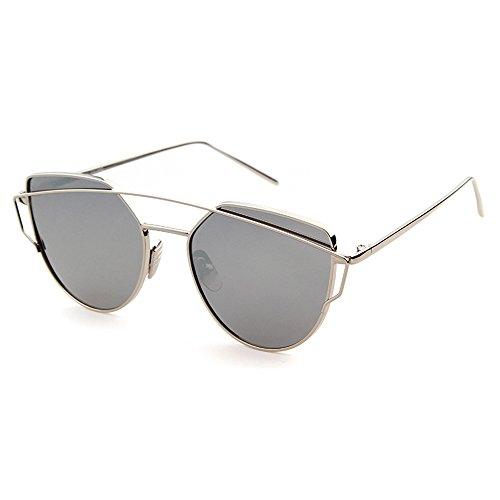 ADEWU Cat Eye Sunglasses Coating Mirror Lens Metal Frame Women - Coating Sunglasses Mirror