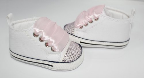 Converse Style baby pram shoes with crystals and ribbons 6-12 MONTHS WHITE