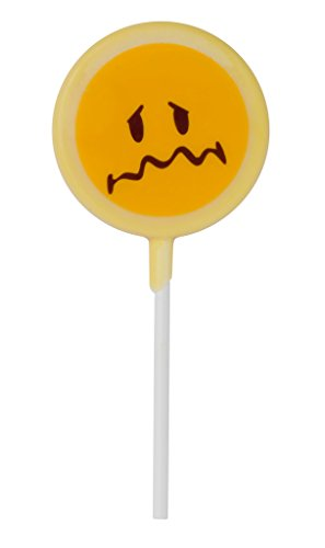 Smiley World Emoji Face Expressions Dairy White Chocolate Lollipops Sucker