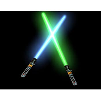 2-in-1 LED Light Up Laser Sword FX Double Bladed Dual Sabers (2 Pack)