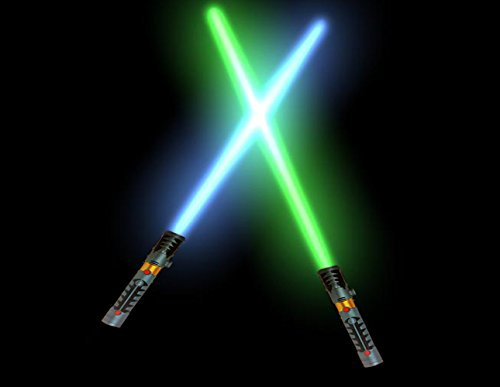 2-in-1 LED Light Up Sword FX Double Bladed Dual Sabers (2 Pack)
