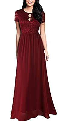 FORTRIC Women Short Sleeve Elegant Sexy Lace Wedding Party Formal Maxi Dress