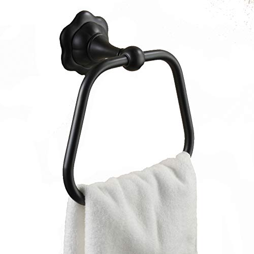 Towel Holders Wall Mounted Towel Bar Towel Rack Towel Shelf Towel Stand Towel Rail Towel Stacker Storage Holder Copper Square Classical Ancient GAOFENG (Color : Black)