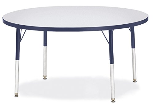 Berries 6433JCA112 Round Activity Table, A-Height, 48'' Diameter, Gray/Navy/Navy by Berries