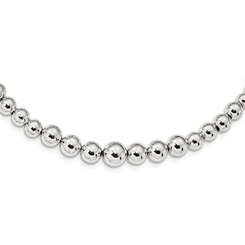 (Solid 925 Sterling Silver Graduated Beads Adjustable Necklace Chain 28