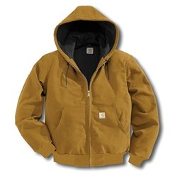 Carhartt Jackets Hooded Cotton Duck Work Jacket J140BLK - Black - X Large ()