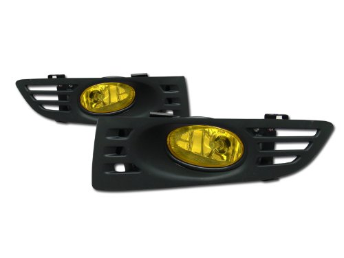 JDM YELLOW CLEAR FRONT BUMPER FOG LIGHTS LAMPS+SWITCH 03-05 HONDA ACCORD 2D/2DR (Fog Yellow Lights 2dr)