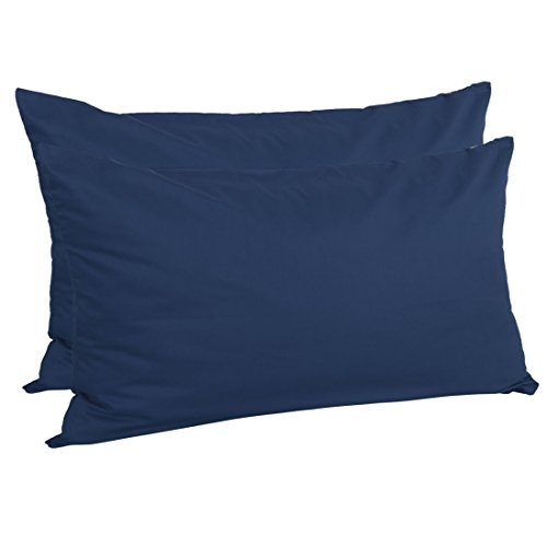 uxcell Zippered King Pillow Cases Pillowcases Covers Protectors, Egyptian Cotton 300 Thread Count, 20 x 36 Inch, Navy Blue, Set of 2
