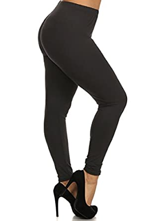 Leggings Depot Plus Women's Basic Solid Full Leggings Pants(Black ...