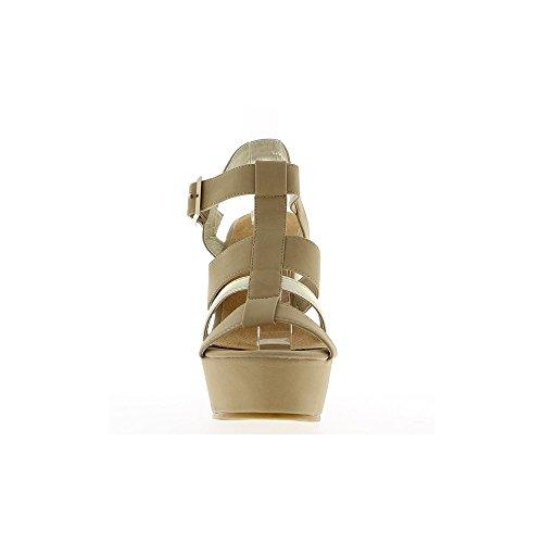 Sandales compensées taupes à talon de 13.5cm et plateforme de 4.5cm