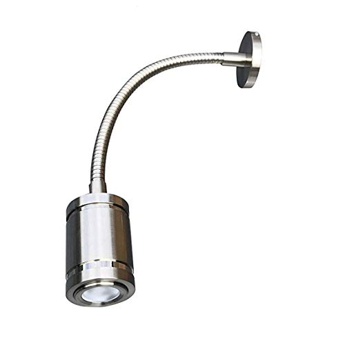 LIGHTEU 12V Reading Light RV LED Interior Spotlight with Switch, Professional Flexible,Wall Light for Bedside, Boat, Yacht, and Caravan, Exquisite (Long-Nickel)