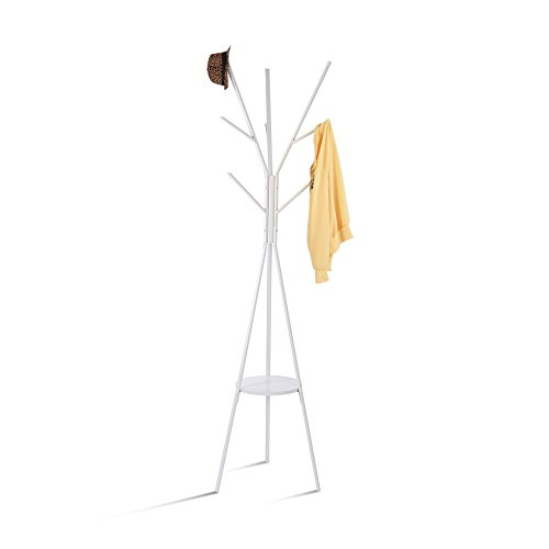 - HOME BI Coat Rack Stand, Coat Hanger with 9 Hooks for Holding Jacket, Hat, Purse White
