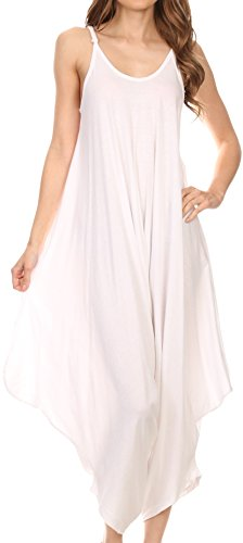 Sakkas 4008 - Ganesa Sleeveless Spaghetti Strap Long Handkerchief Full Body Jumpsuit - White - OS