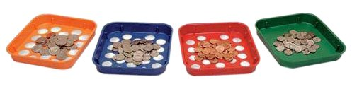 MMF Industries Speed Sort Coin Sorting Trays, 4 Color-Coded Trays for Pennies through Quarters, Assorted Colors (223400000)