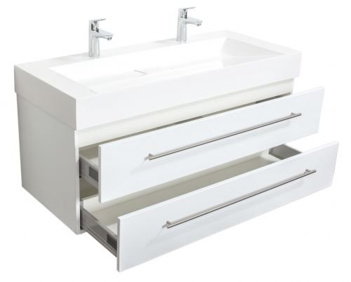 Badmöbel Design 1200 Doppel weiss hochglanz