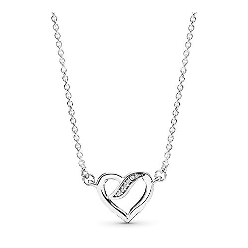 PANDORA Dreams Of Love Necklace, Sterling Silver, Clear Cubic Zirconia, 17.8 IN
