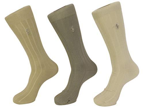 Polo Ralph Lauren mens socks Dress Mercerized Rib Cotton khaki asst. 3pairs ()
