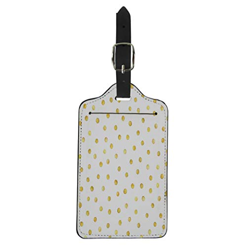 Pinbeam Luggage Tag Watercolor Pattern Gold Dots Yellow Polka Paint Brush Suitcase Baggage Label