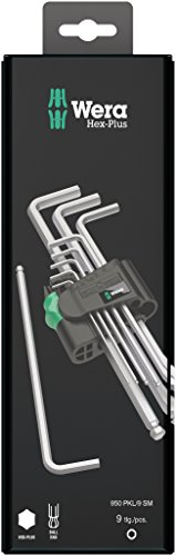 WERA 05073391001 Wera 05073391001 1.5-10mm Hex-Plus Key High Torque with Ball-End - Chrome Plate (9 Pieces) ()