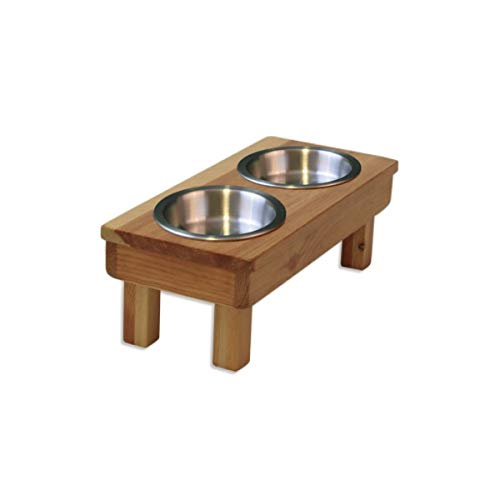 """Raised Dog Bowl 7"""" tall Small. Double NEW Shallow Bowls Elevated Cat Feeder Stand. Solid Wood Raised Stand with Two (13oz) Stainless Steel Bowls - Eco-Friendly Non-Toxic. Handcrafted- Made in the USA"""