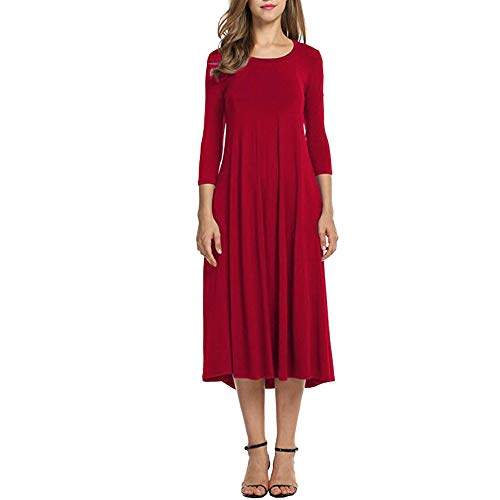 TOTOD Dress, Womens Casual 3/4 Sleeve Loose Dresses - Ladies Evening Long Maxi Dress 14 Colors Red