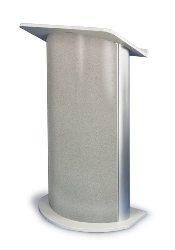 Grey Granite Curved Radius Lectern with Satin Anodized Aluminum
