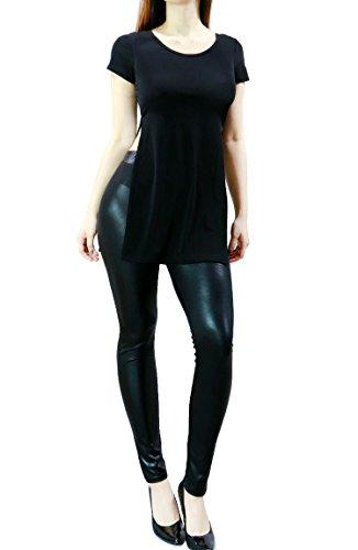 Fandsway Womens Sexy Short Sleeve Side Slit Summer Tunic Round Neckline (MEDIUM, BLACK)