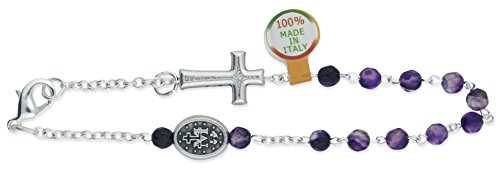 Deluxe One Decade Rosary Bracelet with Brazilian Agate Beads and Clasp (Violet)