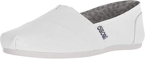 BOBS from Skechers Women's Plush-Peace and Love Flat, White, 6 W US
