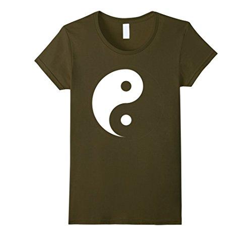 Womens Yin Yang T-shirt Medium Olive