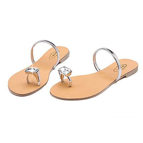 Women's Lightweight Flat Flip Flops Slip On Toe Ring Crystal Rhinestone Low Heel Slide Sandals Silver