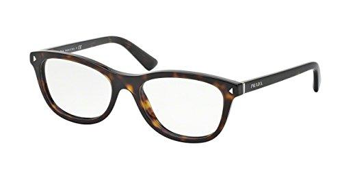 Prada PR05RVF Eyeglass Frames 2AU1O1-53 - Havana - Cat Eyeglasses Eye Prada