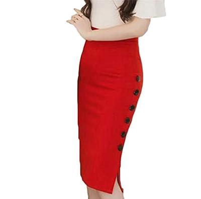 Pcutrone Women's Slim Fit Stretch High Waist OL Slit Button Bodycon Skirts