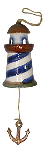 Ceramic Nautical Decor Blue and White Lighthouse Wind Bell Chime (Lighthouse Chime)