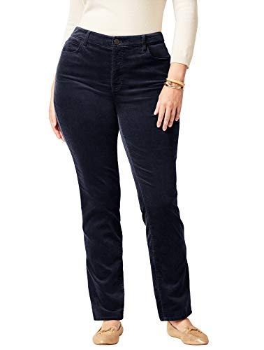Talbots High-Rise Velveteen Straight-Leg Pants - Plus Size Curvy 24 Indigo Blue