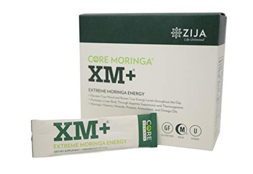 Zija XM+ Pure Moringa Tree Leaf Natural Supplement | Instant Organic Powder for Extreme Energy and Weight Loss Drink | 32 Pouches -