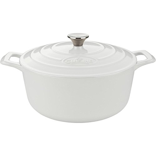La Cuisine LC 4180 Cast Iron Casserole with Cream Interior, 2.2 quart, White/Cream