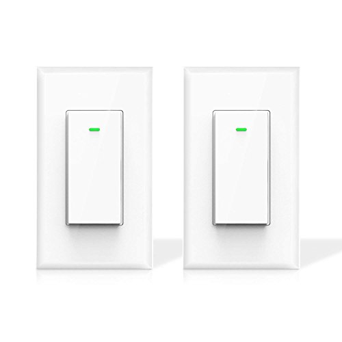 Maxcio Smart Wi-Fi Light Switch, No Hub Required, Compatible with Amazon Alexa and Google Assistant, Remote Control/Schedule Your Fixtures Anywhere, 15A - 2 Packs (Neutral Wire Required) ()