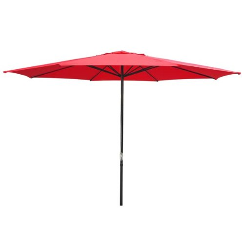 Yescom 13' Red Sun Shading Aluminum Umbrella UV30+ Outdoor Patio Market Garden Beach Deck Furniture (4 Umbrella Pulley Market Round)