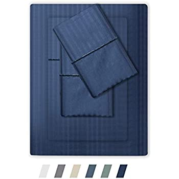 Feather & Stitch 500 Thread Count 100% Cotton Stripe Sheets + 2 Pillowcases, Soft Sateen Weave, Deep Pocket, Hotel Collection, Luxury Bedding Set (Dark Blue, King)