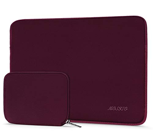 MOSISO Water Repellent Neoprene Sleeve Bag Cover Compatible with 13-13.3 inch Laptop with Small Case, Wine Red (Red Macbook Pro Sleeve)