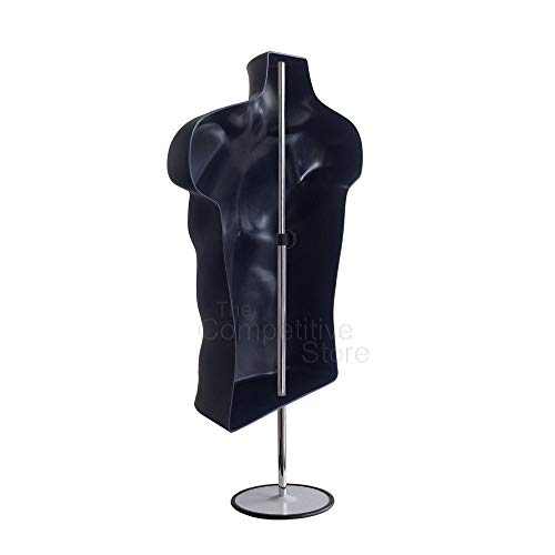 10-Pack Male Mannequin Torso, Dress Form Hollow Back Body Tshirt Display, w/Stand for Counter by EZ-Mannequins for Craft Shows, Photos or Design, Easy to Assemble and Store, S-M Clothing Sizes, Black. by EZ-Mannequins (Image #2)