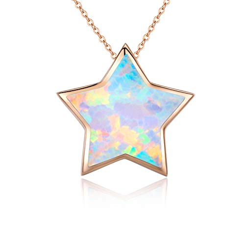 Star Necklace, Opal Lucky Star Choker Necklace Minimalist Sterling Silver Cute Dainty Necklace for Women