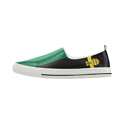 D-Story Yello Bee And Green Strips Slip-on Microfiber Mens Shoes Sneaker wBwou4Q
