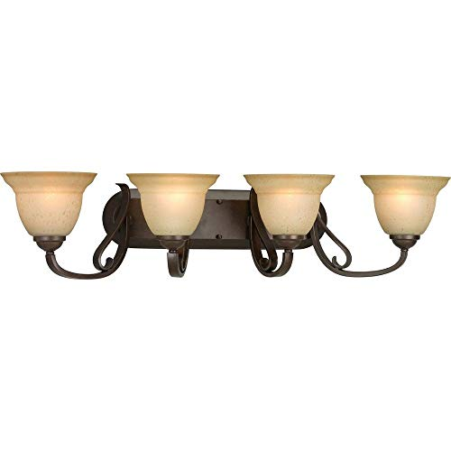 (Progress Lighting P2884-77 4-Light Bath Bracket with Tea Stain Etched Glass, Forged Bronze)